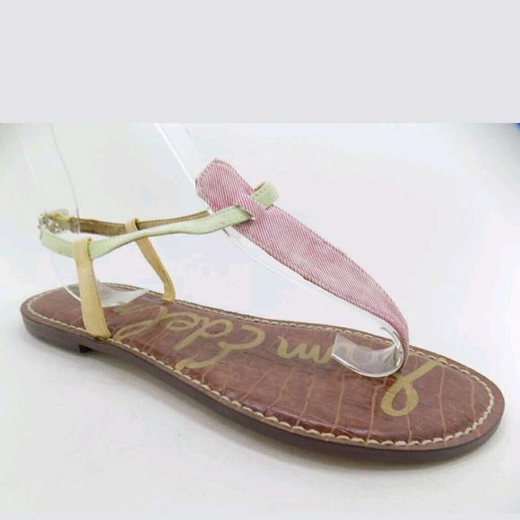 4d63afc9e9e25 Sam Edelman pink green yellow sandal 8M gigi